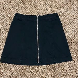 H&M Black Denim Zip Front Mini Skirt